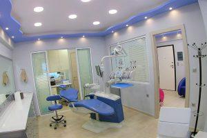 Αίθουσα ορθοδοντικού ιατρείου, με καρέκλα επισκέπτη και εξοπλισμό